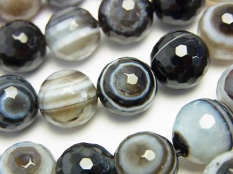 天然石卸 チベットアゲート(天眼石) 128面ラウンドカット12mm 半連/1連(約37cm)