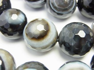 天然石卸 チベットアゲート(天眼石) 128面ラウンドカット18mm 半連/1連(約35cm)