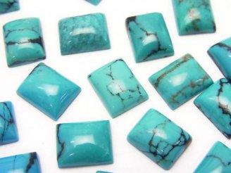 天然石卸 1粒420円!ターコイズAAA-〜AA++ レクタングル型カボション 模様入り 10×8 1粒