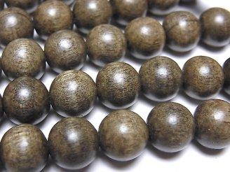 天然石卸 1連320円!グレーウッド セミラウンド10mm 1連(約38cm)