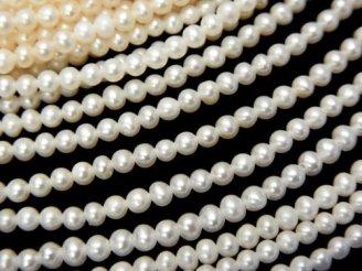 天然石卸 1連2,780円!極小淡水真珠ケシパールAAA ポテト2.5mm ホワイト 1連(約38cm)