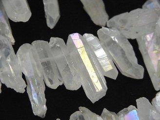 天然石卸 1連980円!クリスタル 氷柱カット ABコーティング 1連(約38cm)