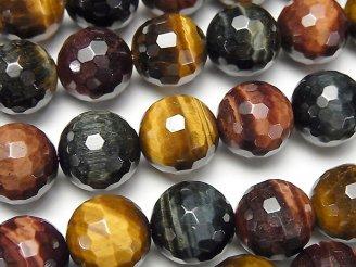 天然石卸 タイガーアイAAA-〜AA++ 3色ミックス 128面ラウンドカット12mm 半連/1連(約37cm)