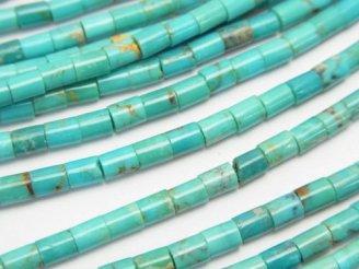 天然石卸 ターコイズAAA- チューブ(ロンデル)3×3×4 半連/1連(約38cm)