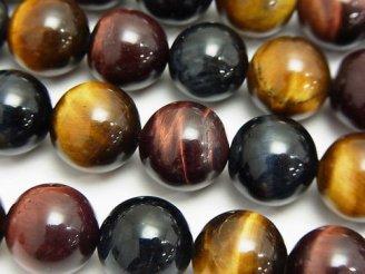 天然石卸 タイガーアイAAA-〜AA++ 3色ミックス ラウンド12mm 半連/1連(約37cm)
