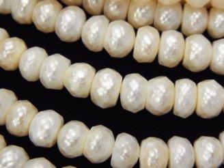 天然石卸 1連1,780円!カット入り淡水真珠 ロンデル7×7×4 ホワイト 1連(約35cm)