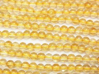 天然石卸 1連980円!ライトカラーシトリンAAA- ラウンド3mm 1連(約38cm)