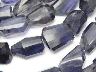 天然石卸 宝石質アイオライトAAA-〜AA++ タンブルカット 半連/1連(約40cm)