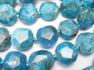 天然石卸 ブルーアパタイトAA+ スクエア〜タンブルカット 半連/1連(約37cm)