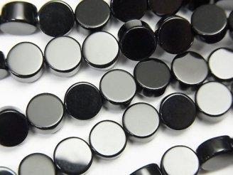 天然石卸 1連780円!オニキス フラットコイン6×6×3 1連(約38cm)