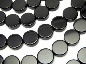 天然石卸 オニキス フラットコイン10×10×4 半連/1連(約38cm)