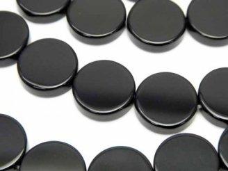 天然石卸 オニキス フラットコイン14×14×4 半連/1連(約36cm)