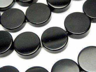 天然石卸 オニキス フラットコイン16×16×5 半連/1連(約37cm)