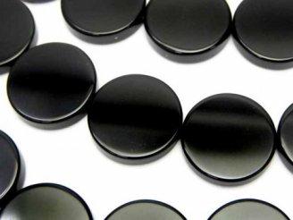 天然石卸 オニキス フラットコイン18×18×5 半連/1連(約38cm)
