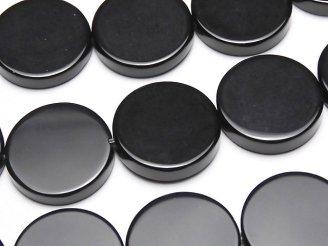 天然石卸 オニキス フラットコイン20×20×3 半連/1連(約38cm)