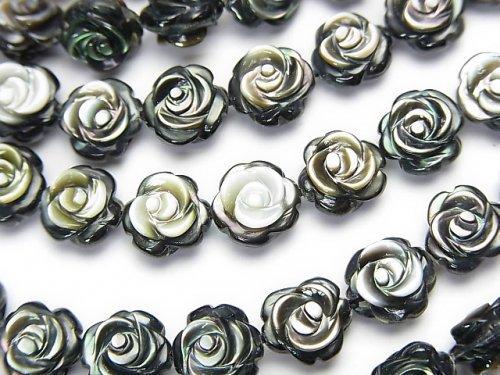 高品質ブラックシェル(黒蝶貝)AAA 薔薇彫刻(両面仕上げ)8×8×4mm 1/4連〜1連(約38cm)