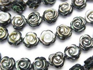 天然石卸 高品質ブラックシェル(黒蝶貝)AAA 薔薇彫刻(両面仕上げ)8×8×4 1/4連〜1連(約38cm)