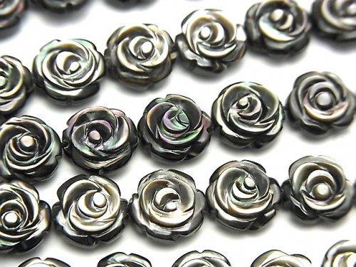高品質ブラックシェル(黒蝶貝)AAA 薔薇彫刻(両面仕上げ)10×10×4mm 1/4連〜1連(約36cm)
