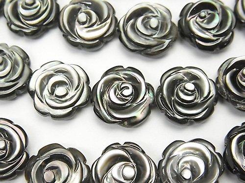 高品質ブラックシェル(黒蝶貝)AAA 薔薇彫刻(両面仕上げ)12×12×5mm 1/4連〜1連(約36cm)