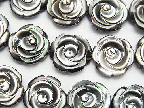 高品質ブラックシェル(黒蝶貝)AAA 薔薇彫刻(両面仕上げ)15×15×5mm 1/4連〜1連(約35cm)