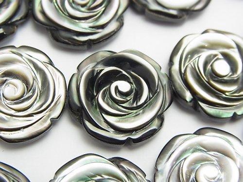 高品質ブラックシェル(黒蝶貝)AAA 薔薇彫刻(両面仕上げ)20×20×7mm 1/4連〜1連(約36cm)