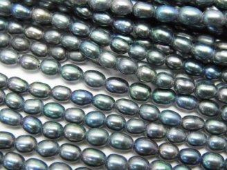 天然石卸 1連580円!淡水真珠AA+ ライス4×3×3 メタリックグリーン 1連(約35cm)