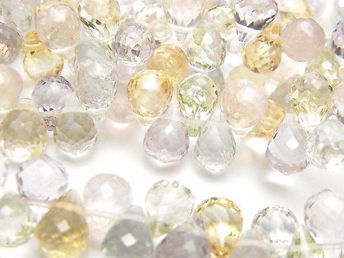 宝石質いろんな天然石AAA ドロップ ブリオレットカット9×6×6mm 10粒・1連(ブレス)