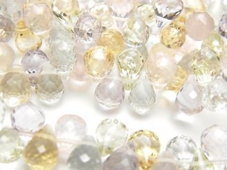 天然石卸 宝石質いろんな天然石AAA ドロップ ブリオレットカット9×6×6 10粒・1連(ブレス)