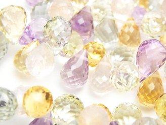 天然石卸 宝石質いろんな天然石AAA ドロップ ブリオレットカット12×8×8mm  10粒・1連(ブレス)