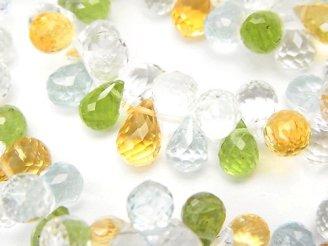 天然石卸 宝石質いろんな天然石AAA〜AAA- ドロップ ブリオレットカット8×5×5 10粒・1連(ブレス)