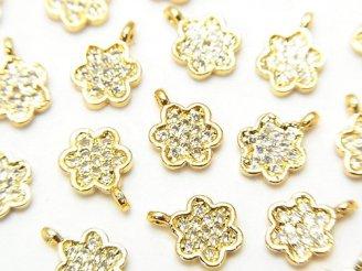 天然石卸 メタルパーツ CZ付きチャーム フラワー9×6 ゴールドカラー 3個380円!