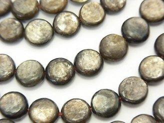 天然石卸 希少!モスコバイト コイン8×8×4mm 半連/1連(約36cm)