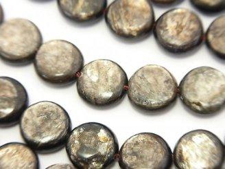 天然石卸 希少!モスコバイト コイン10×10×4 半連/1連(約36cm)