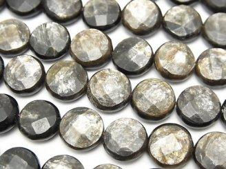 天然石卸 希少!モスコバイト コインカット10×10×5mm 半連/1連(約36cm)