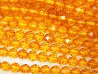 天然石卸 バルティックアンバー(琥珀) 32面ラウンドカット4mm 1/4連〜1連(約38cm)