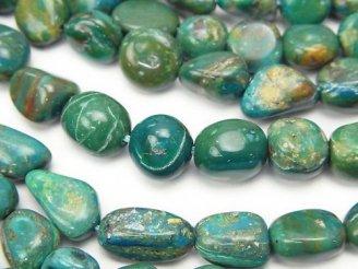 天然石卸 ペルー産ブルーオパールAA タンブル 半連/1連(約38cm)