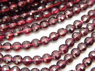 天然石卸 1連1,380円!宝石質ガーネットAAA- 小粒コインカット4×4×3 1連(約37cm)