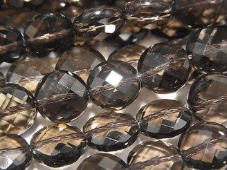天然石卸 素晴らしい輝き!スモーキークォーツAAA コインカット10×10×6 半連/1連(約38cm)