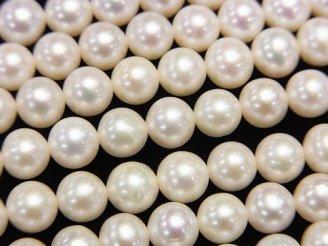 天然石卸 1連3,480円!淡水真珠AAA- ラウンド6mm ホワイト 1連(約38cm)