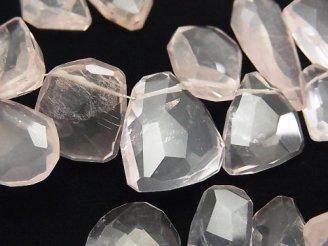 天然石卸 宝石質ローズクォーツAAA- フラットラフタンブルカット 半連/1連(約16cm)