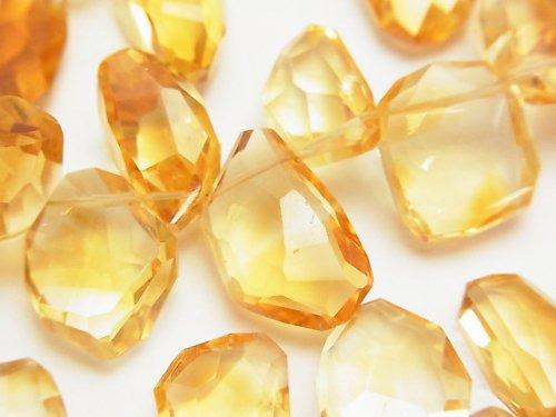 宝石質シトリンAAA フラットラフタンブルカット 半連/1連(約18cm)