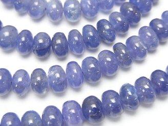 天然石卸 宝石質タンザナイトAAA〜AAA- ロンデル(ボタン) 半連/1連(約38cm)