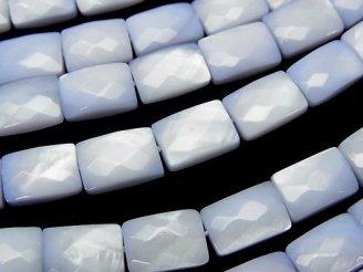天然石卸 ブルーカラーシェル レクタングルカット10×7×4mm 半連/1連(約38cm)
