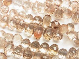 天然石卸 宝石質ブラウントパーズAAA ドロップ ブリオレットカット 1/4連〜1連(約18cm)