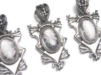天然石卸 メテオライト(ギベオン隕石) デザイン枠付きオーバル型ペンダントトップ35×22×8 1個