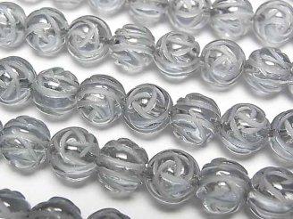 天然石卸 シルバーフラッシュクリスタル ラウンドローズ(薔薇)カット8mm 半連/1連(約37cm)