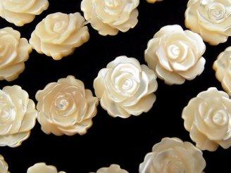 天然石卸 問屋 販売|ケンケンジェムズ ドットコム マザーオブパールAAA ベージュ 薔薇(ローズ)12mm 半連/1連(約34cm)
