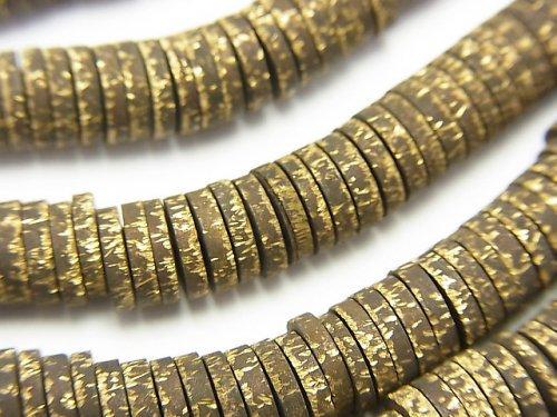 ブラス(真鍮) ロンデル(ディスク)6×6×1.5mm いぶし仕上げ 半連/1連(約68cm)