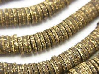 天然石卸 ブラス(真鍮) ロンデル(ディスク)6×6×1.5mm いぶし仕上げ 半連/1連(約68cm)