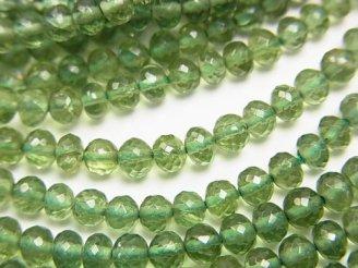 天然石卸 極上カット!宝石質グリーンアパタイトAAA ボタンカット 半連/1連(約38cm)